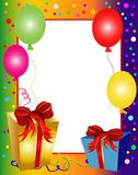Colorful party background with balloons and presen Stock Images