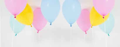 Colorful party balloons background set, collage. Isolated on white. Copy space royalty free stock image