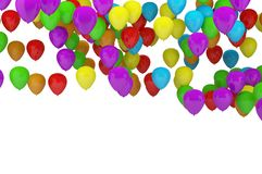 Colorful party balloons background with white background for cop. Y space Stock Photos