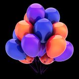 Colorful party balloons. Birthday balloon bunch decoration icon. Colorful party balloons. Birthday balloon bunch decoration multicolored blue orange purple Royalty Free Stock Photo
