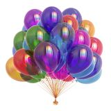 Colorful party balloons, birthday decoration multicolored. Colorful party balloons varicoloured, birthday decoration multicolored. helium balloon bunch glossy Royalty Free Stock Images