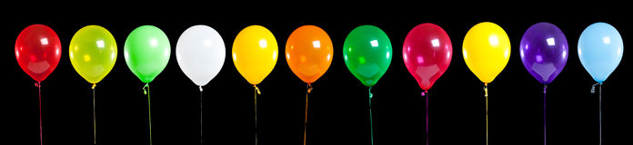Colorful Party Balloons on Black Royalty Free Stock Images