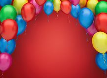Colorful party balloons background. Colorful party balloons 3d illustration Royalty Free Stock Photography
