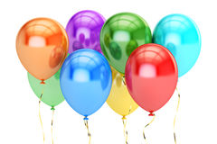 Colorful party balloons, 3D rendering Royalty Free Stock Photos