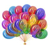 Colorful party balloons multicolored. Balloon bunch glossy. Colorful party balloons glossy multicolored. Holiday balloon bunch birthday decoration, festive Royalty Free Stock Images