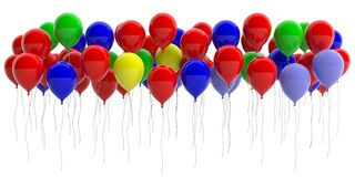 Colorful balloons on white background. 3d illustration Stock Image