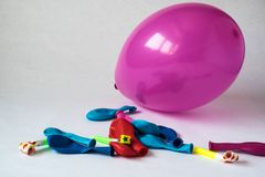 Colorful party balloons, out of the box to celebrate an event royalty free stock photos