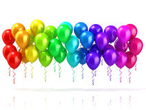 Colorful party balloons row. Isolated on white Royalty Free Stock Image