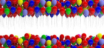 Colorful balloons on white background. 3d illustration. Colorful party balloons on white background, copy space. 3d illustration Royalty Free Stock Photos