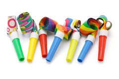 Colorful party blowers Royalty Free Stock Photo