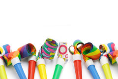 Colorful party blowers border Royalty Free Stock Photos