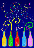 Colorful party bottles Royalty Free Stock Images