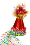 Colorful party caps with colored ribbons Stock Photography