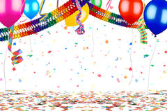 Colorful party carnival birthday celebration background. Colorful empty party carnival birthday celebration background with colorful streamer air balloon garland Royalty Free Stock Photo