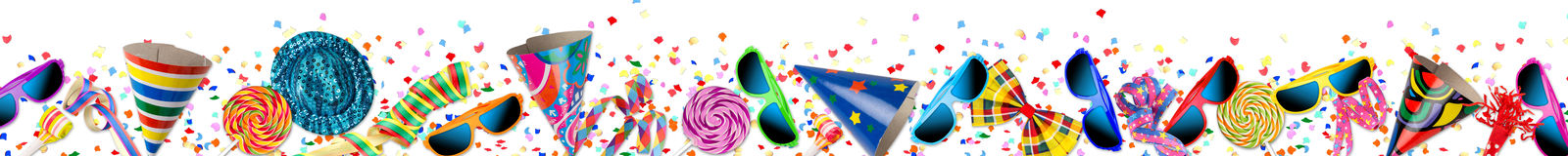 Colorful party carnival birthday celebration background. Colorful wide panorama party carnival birthday celebration background with colorful streamer candy lolly stock image
