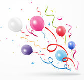 Colorful party confetti with balloon Royalty Free Stock Image