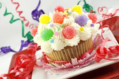 Colorful Party Cupcake Stock Photo