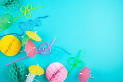 Colorful party decoration and accessories over the bleu backgrou. Nd. Summer beach parties and celebration concept Stock Images