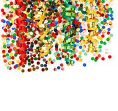 Colorful party decoration with confetti and shiny streamer Royalty Free Stock Photography