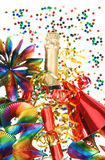 Colorful party decoration with garlands, confetti Royalty Free Stock Image