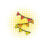 Colorful party flags comics icon. On a white background Royalty Free Stock Photo