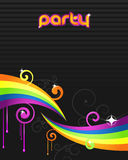 Colorful party flyer. Artistic vector illustration in bright shiny colors. Floral decorations and colorful pait Stock Photos