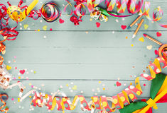 Colorful party frame with streamers and confetti Stock Images