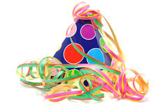 Colorful party hat with streamers Stock Photos