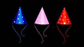 Colorful party hats. Illustration of three colorful conical shaped party hats isolated on black background Royalty Free Stock Photos