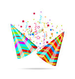 Colorful party hats with confetti for your holiday Stock Image