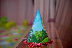 Decorative birthday party celebration hat . Decorative birthday party celebration cap . Colorful Party Hats for Party.Colorfull festive caps isolated Party hat stock photography