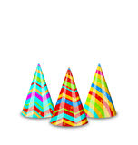 Colorful party hats for your holiday, isolated on white Stock Photography