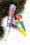 Colorful Party horn and blowers Stock Photo
