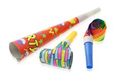 Colorful party horn and blowers royalty free stock photos