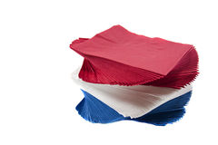 Colorful Party Napkins on Isolated White Background Royalty Free Stock Images