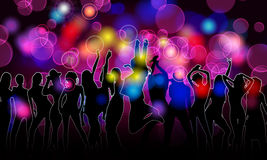Colorful party people silhouettes Royalty Free Stock Images