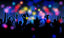 Colorful party people silhouettes vector illustration