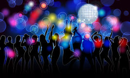 Colorful party people silhouettes Stock Photos