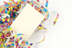 Colorful Party Ribbons with Blank Gift Tag Stock Photo