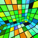 Colorful Party Room. Abstract disco party room in a bright and colorful green, blue, orange, and yellow mosaic of tiles royalty free illustration