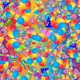 Colorful party seamless pattern. Bright multicolor balloons, gift boxes, caps. Abstract holiday birthday background. Decorative design. Celebrate festive Royalty Free Stock Photo