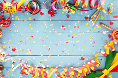 Colorful party streamer and bow tie border Stock Photography