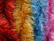 Colorful party streamers, colorful christmas ribbon, New year.  Royalty Free Stock Image