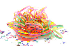 Colorful party streamers and confetti Stock Images