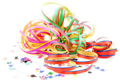 Colorful party streamers and confetti Royalty Free Stock Photography