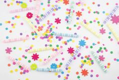 Colorful Party Supplies Background Stock Image