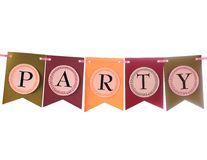 Colorful party swag banner isolated on white. Colourful festive swag banner for party decoration Stock Photo