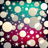 Colorful party vector background. Colorful background with stars and circles Royalty Free Stock Photos