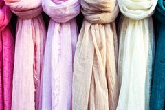 Colorful scarf in the market. royalty free stock images