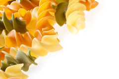 Colorful Pasta. Colorful Dry Italian Pasta On White Background. Copyspace Stock Photos